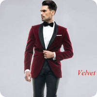 2020 Black Velvet Men Suits For Wedding Suits Groom Blazer