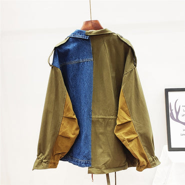 2020 Autumn New Fashion Wild Loose Stitching Blue Khaki Patchwork Denim Jacket Women