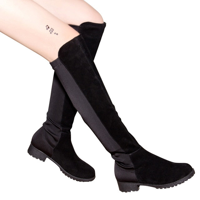 Women Over The Knee Boots Winter Thigh High Boots Suede Ladies