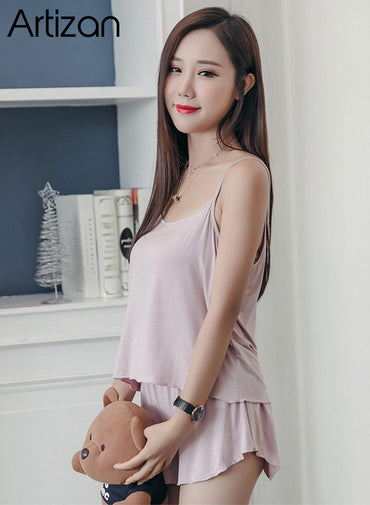 Sexy Summer Pajamas Sleepwear for Women Sleeveless