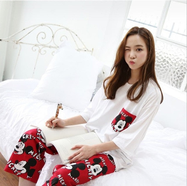 Two Piece Set Mickey Printing Indoor Clothing Home
