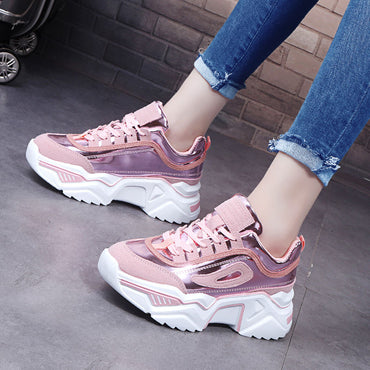 Women Platform Chunky Sneakers 5cm high lace-up Casual Vulcanize