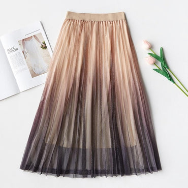 Long Tulle Skirt Women Spring Summer Gradient Elegant High Waist A-line Pleated