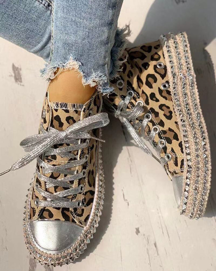 Woman Spring Leopard print Canvas Fashion Sneakers