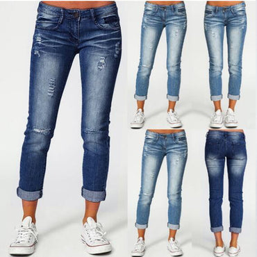 Women Skinny High Waist Jeans Summer Autumn Casual Ripped Cuffs Ankle Length