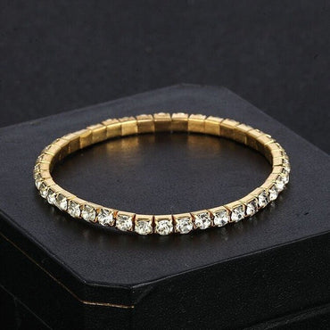 New Geometric Crystal Wrap Bracelets Gold Silver Rhinestone Crystal