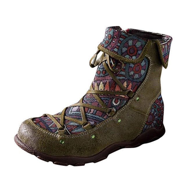 Women's Ladies Retro Bohemian Style Ankle Zip Short Boots