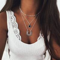 Retro Semicircle Openwork Lotus Round Black Crystal Beads Chain Multilayer Silver Necklace