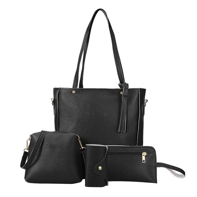 Women Four Set Handbag Shoulder Bags Four Pieces Tote Bag