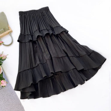 Women Skirts Spirng Summer Asymmetry Ruffled Cocktail Fold Casual Solid Midi