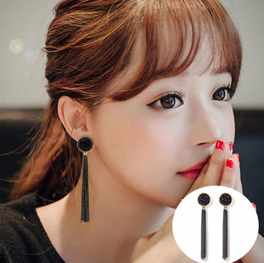 Korean Statement Black Acrylic Drop Earrings for Women