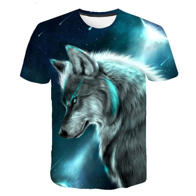 Men's New Summer Personalized O-neck T-Shirt Wolf Print T-Shirt 3D