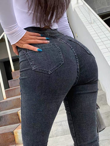 2020 new irregular high waist jeans women's tights
