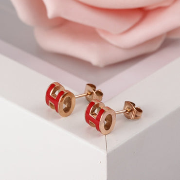 New Fashion Titanium Steel H Letter Stud Earrings For Women