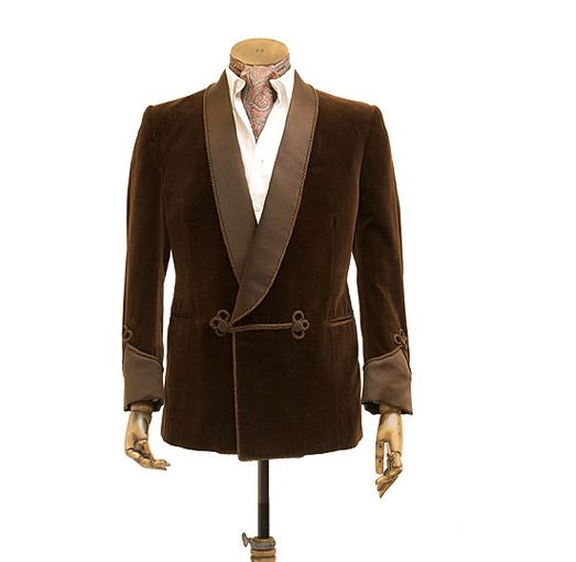 Brown Velvet Smoking Jacket Only Men Latest Designs Double Breasted Smoking Blazer Jacket