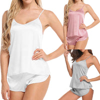 New Elegant Women Silk Satin Pajamas Set Sleepwear Shorts Babydoll Nightwear Lingerie