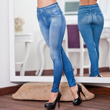 Newly Women Legs Shaping Leggings Fake Jeans