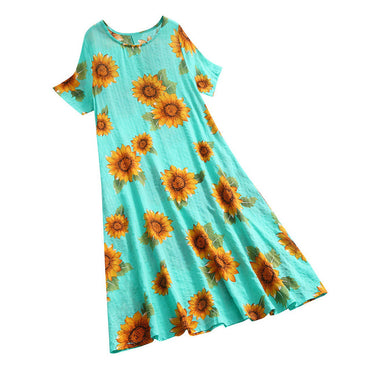 Hot Sale Women Cotton And Linen Loose O-Neck Short Sleeve Printing Long Dress Best Selling