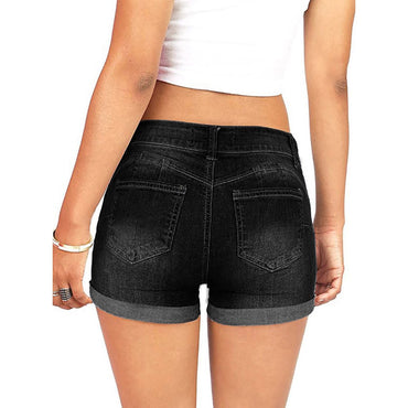 New Summer ladies hole denim shorts women's low waist