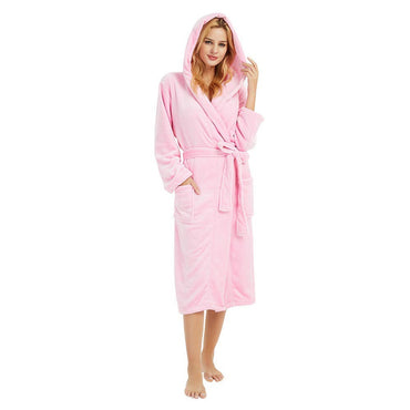 3w#Winter Plush size 5XL Hooded Lengthened Thermal Plush Shawl Bathrobe Sleepwear