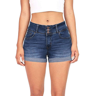 Women'S Denim Shorts Hot Shorts Classic Retro High Waist Blue Wide Leg