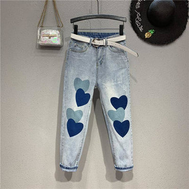 New Nice Spring Summer Womens Denim Jeans Hearts Print Capris