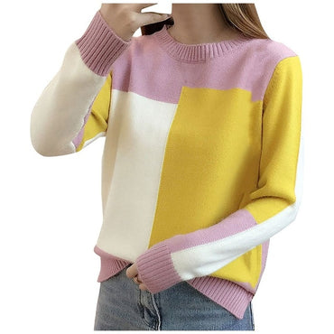 Women Sweater Fashion Patchwork Color Pullover Sweater