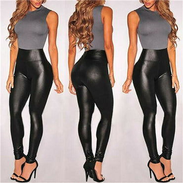 Summer Black Faux Leather Leggings For Women High Waist Skinny Push Up Leggings