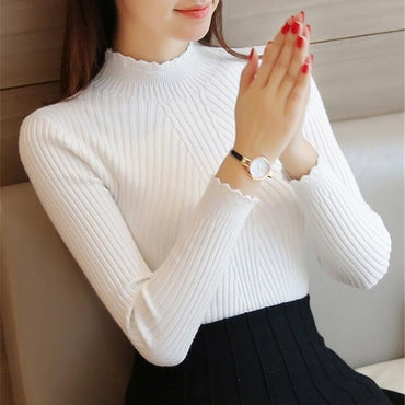 Autumn Women Knitted Turtleneck Sweater Lady Solid Slim Pullovers