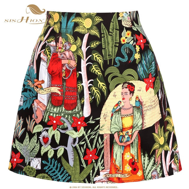 Skirts Womens ropa mujer SS0008 Black White Red Fruit Floral