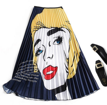 Fashion Summer Womens Pleated Skirt Cartoon Print High Waist Elastic Long