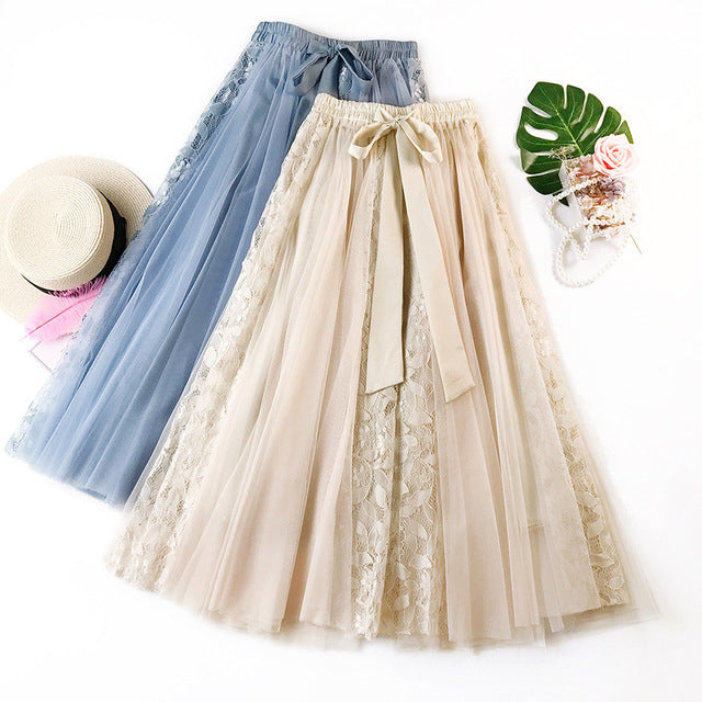 Women's Floral Embroidery Lace Skirt High Waist Big Bow Multi-layer Mesh Skirts
