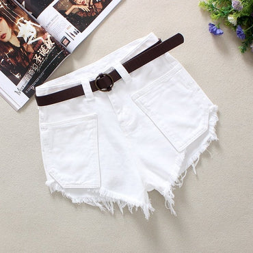White Women's Denim Shorts Summer Novel Loose Tassels 100% Cotton Big Pockets