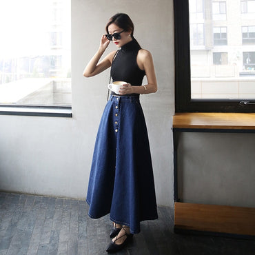 Fashion Korean Preppy Style Denim Women Solid Color Long Skirt High Waist