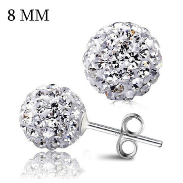 New Stainless Steel Trendy Brand Korean Earrings Shiny Ball Crystal Stud Earring For Women
