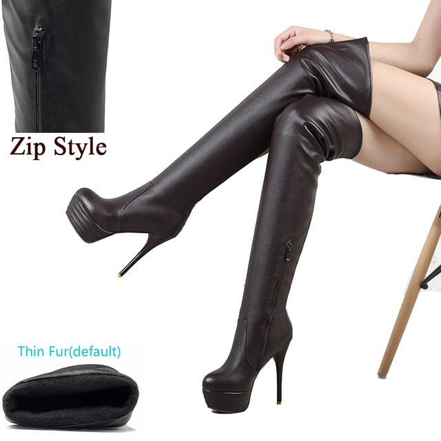 Lady Sexy Over Knee Thigh High Boots Women Autumn Fashion Thin High Heels