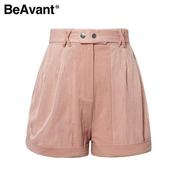 High Fashion Pink Women Shorts Summer Hollow Out Sexy Short