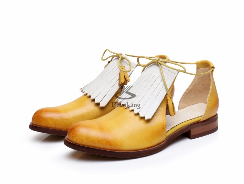 Women Sandals Flat Genuine leather brogues Yinzo ladies flats
