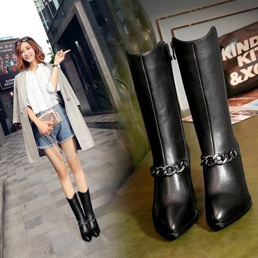 Designer Genuine Leather Long Boots Sexy Woman Motorcycle Booties