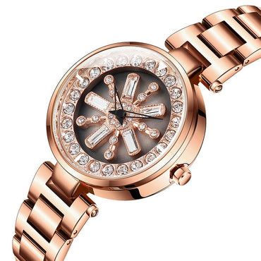 Fashion Women Watches 360 Degree Flowers Rotating Waterproof