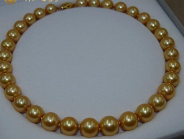 18''genuine AAA 11-12mm south sea golden pearl necklace 14 Gold Clasp