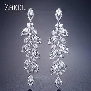 Fashion Korean CZ Leaf Wedding Jewelry Marquise AAA Cubic Zirconia Long Drop Bridal Earrings