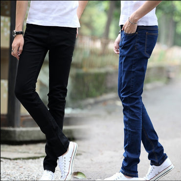 Men Elastic Force Jeans Man Self-cultivation Bound Feet Leisure Directly Cuffless