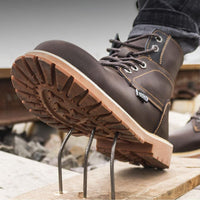 Boots men Leather safety shoes Steel toe cap Anti-smashing