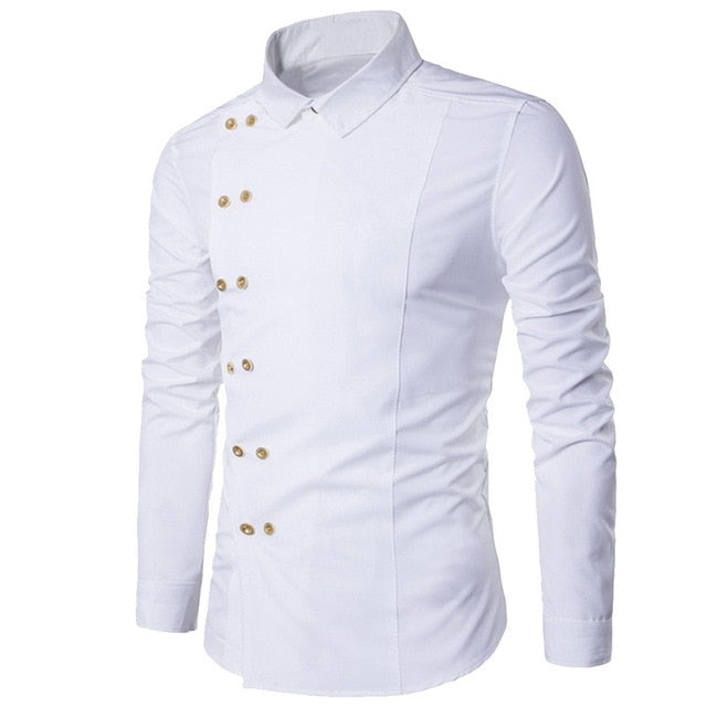 Men Shirt Double Breasted Dress Shirt Long Sleeve Slim