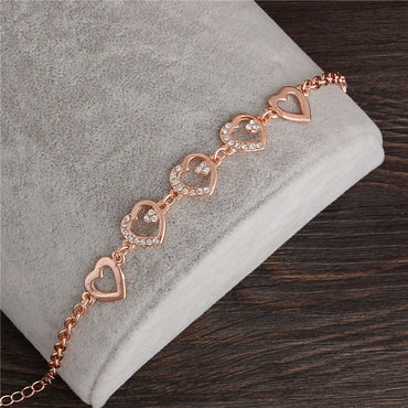 Jewelry New Romantic Heart CZ Bracelet Femme /Gold Color Women
