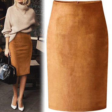 Sexy Multi Color Suede Midi Pencil Skirt Women
