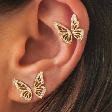 2020 New Gold Silver Rose Gold Color Rhinestone Butterfly Wing Stud Earrings For Women