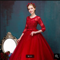Best selling ball gown 3/4 sleeve lace appliques pearls prom dress