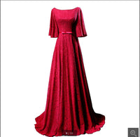 Real picture a line wine lace formal prom dresses best selling